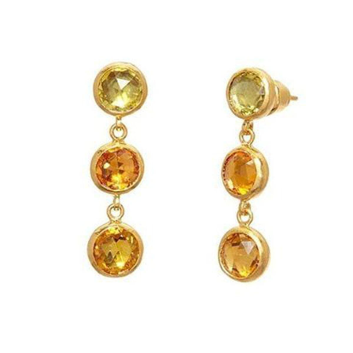 Elements 24K Gold Sapphire Mix Earrings - E-U23632-FSA