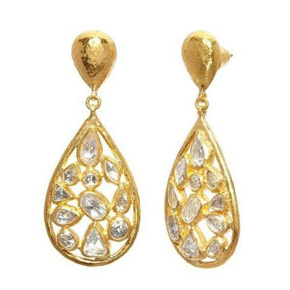 Pointelle 24K Gold White Diamond Earrings - E-U23741-DI