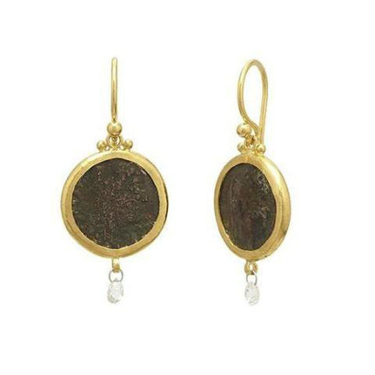 Antiquities 24K Gold Diamond Coin Earrings - E-U25443-CN-GURHAN-Renee Taylor Gallery
