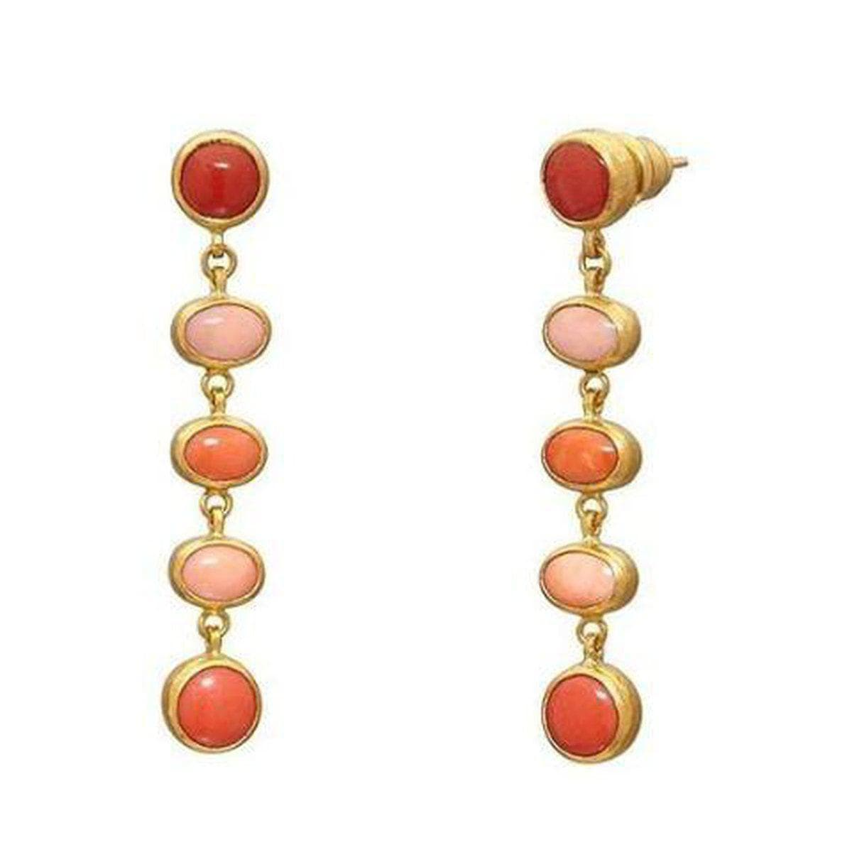 Amulet Hue 24K Gold Coral Earrings - E-U25623-CO-GURHAN-Renee Taylor Gallery