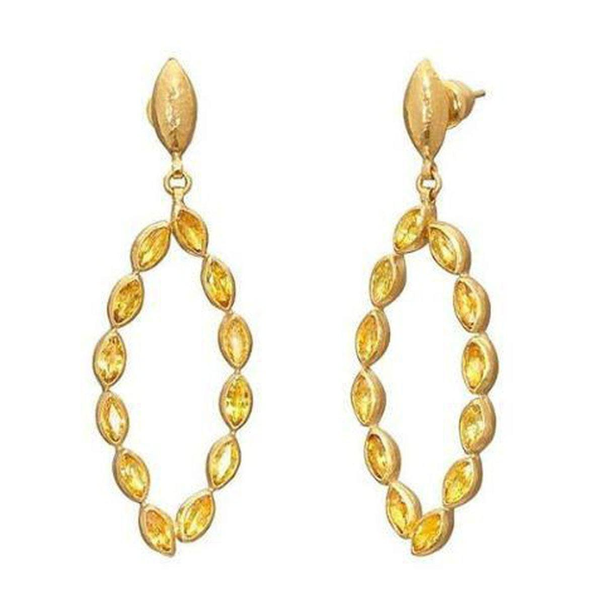 Pointelle 24K Gold Yellow Sapphire Earrings - E-U25671-SA-GURHAN-Renee Taylor Gallery
