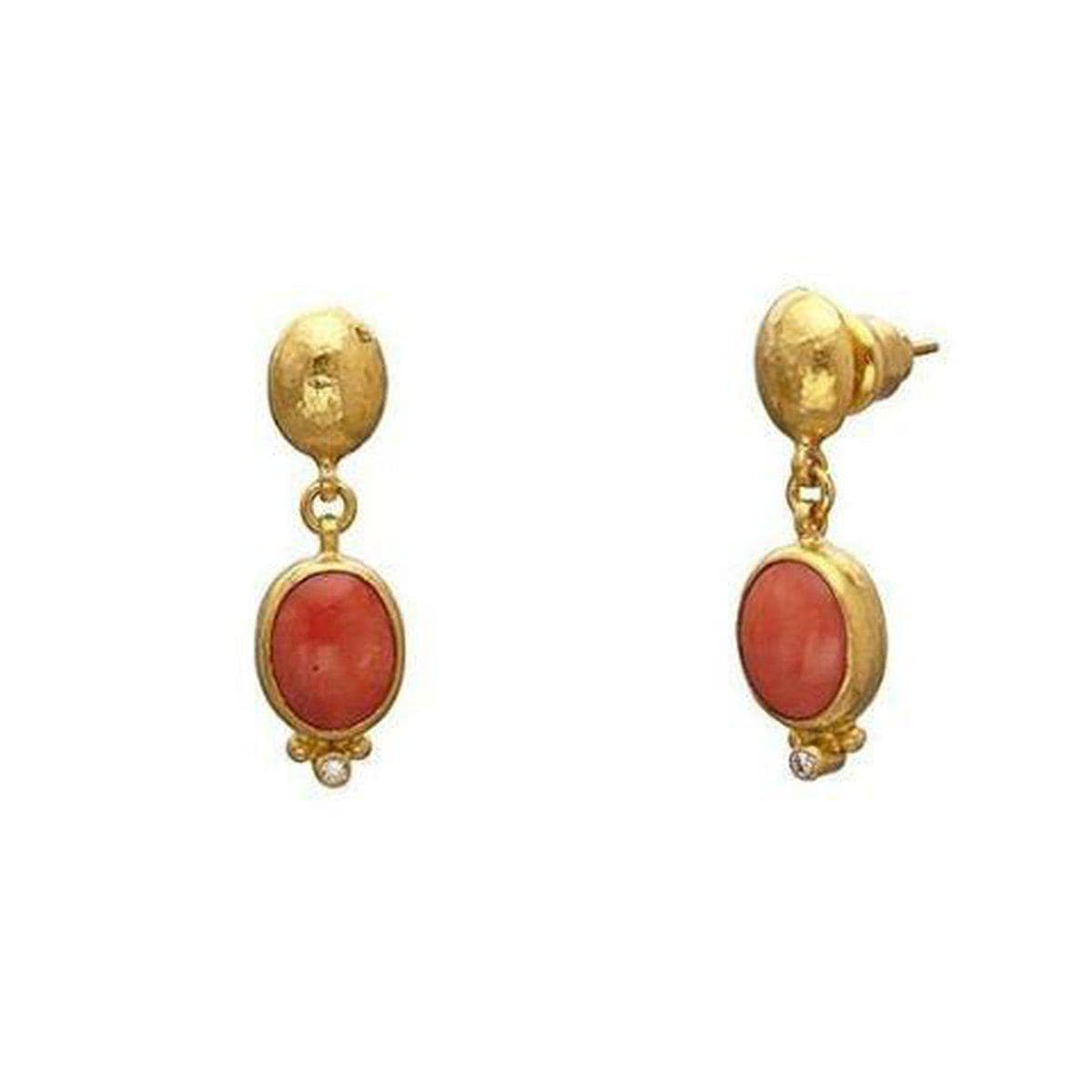 Amulet Hue 24K Gold Coral Earrings - E-U26166-CO-GURHAN-Renee Taylor Gallery