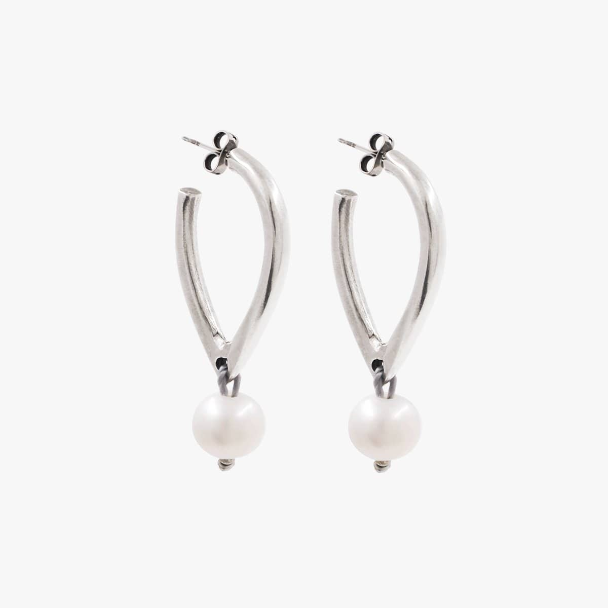 Sterling Silver Plated Pearl Earrings - E0057 MTP-CXC-Renee Taylor Gallery