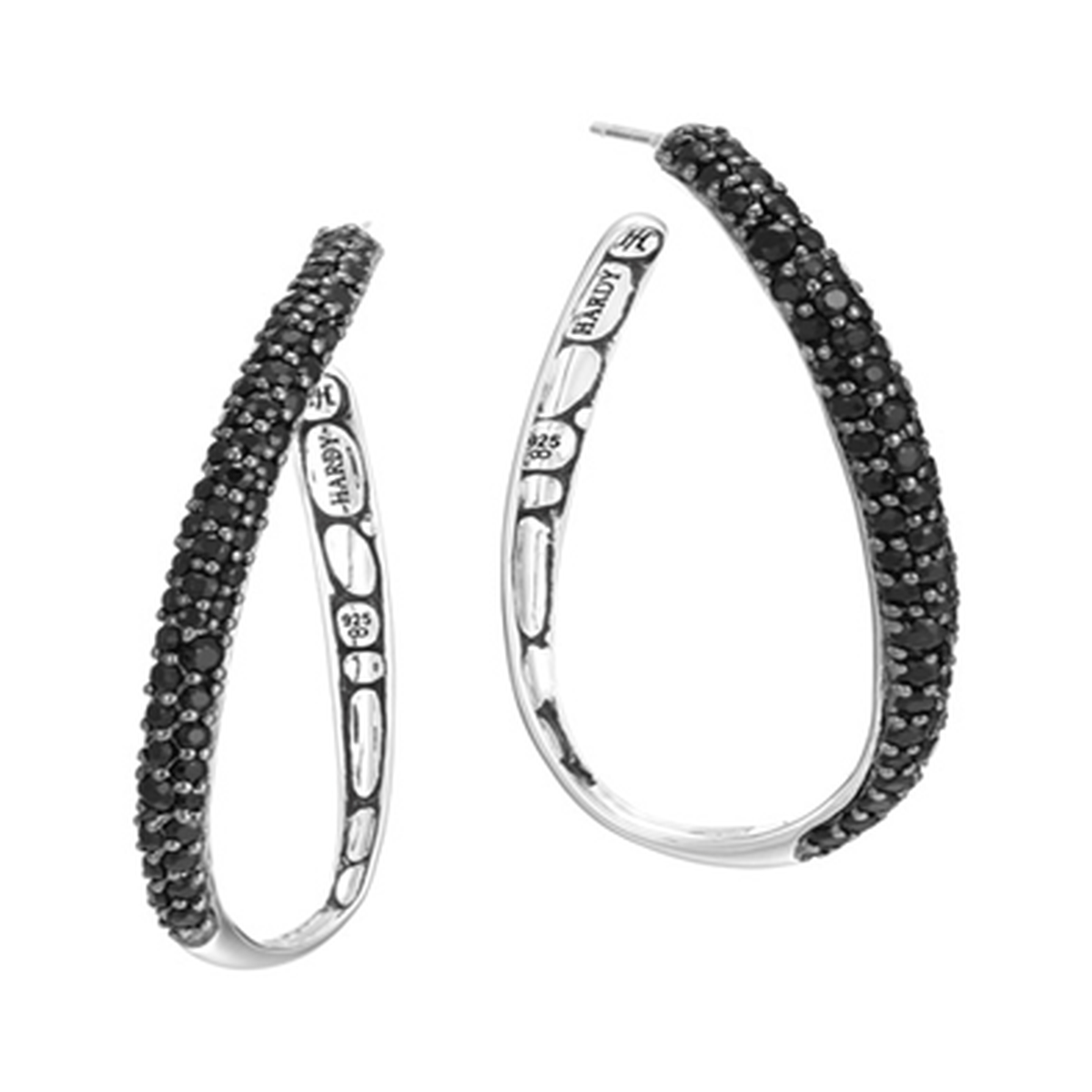 Kali Silver Lava Hoop Earrings with Black Sapphire - EBS2705BLS-John Hardy-Renee Taylor Gallery