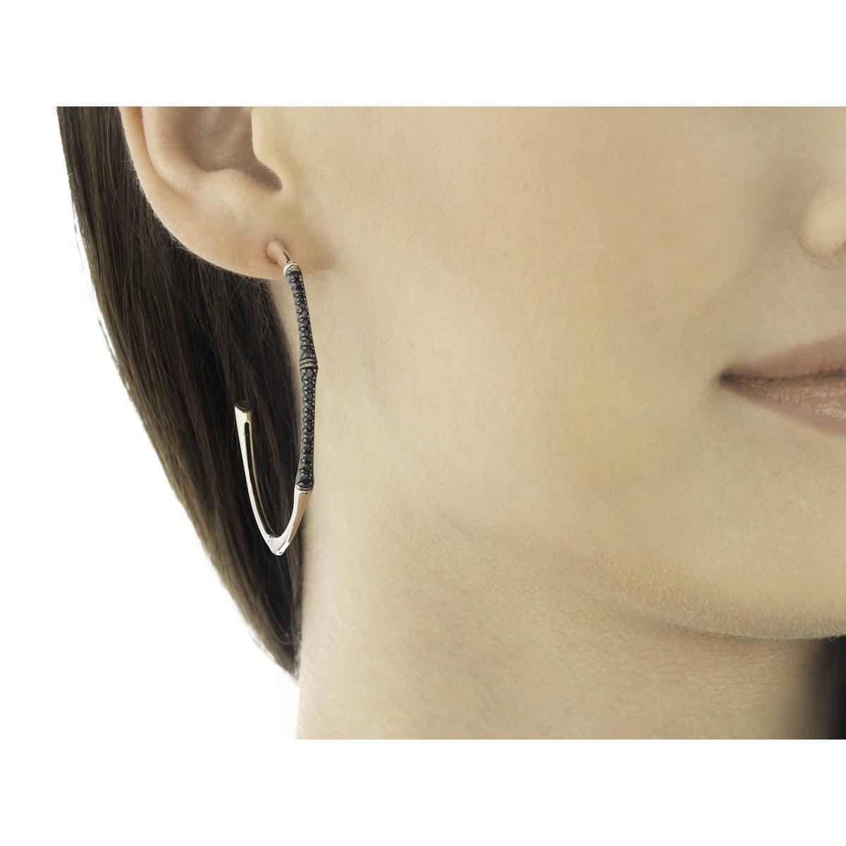 Bamboo Large Hoop Earring with Black Sapphire - EBS57954BLS-John Hardy-Renee Taylor Gallery