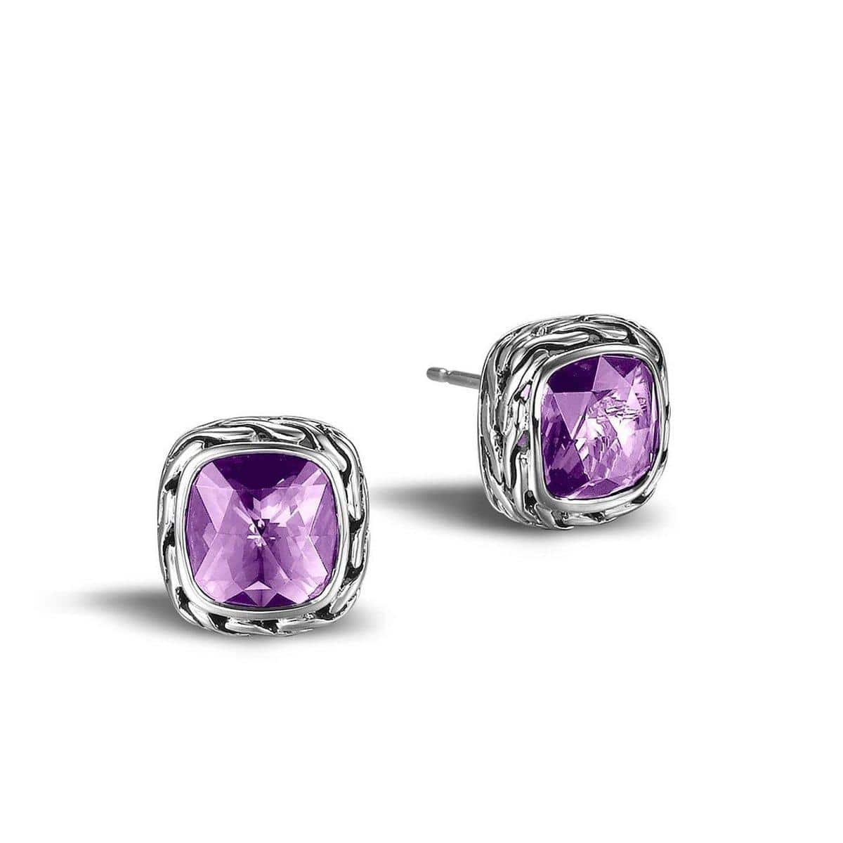 Chain Classic Chain Stud Earring with Amethyst - EBS992351AM-John Hardy-Renee Taylor Gallery