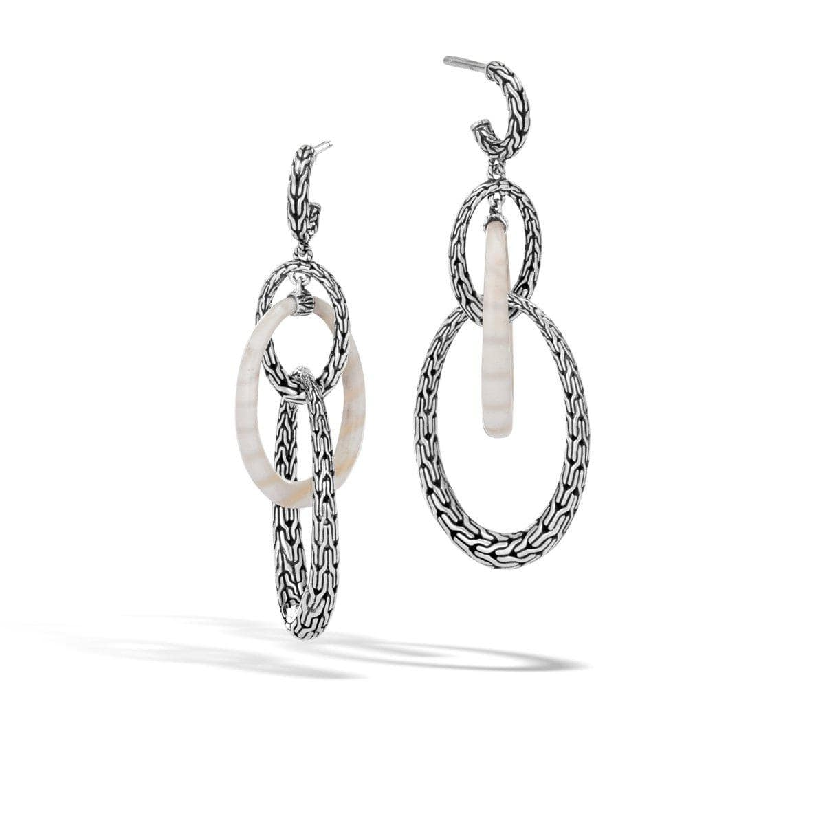 Classic Chain Drop Earring with White Agate - EBS9996781WAG-John Hardy-Renee Taylor Gallery