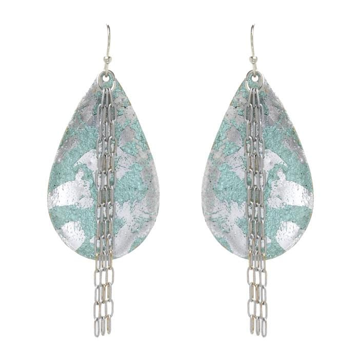 Turquoise Medium Teardrop with Chain Earrings - EL409-Evocateur-Renee Taylor Gallery