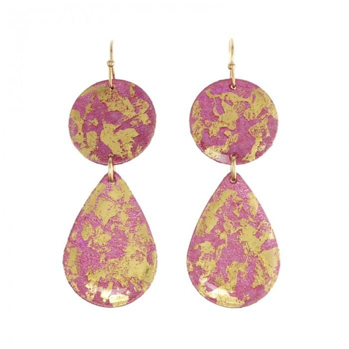 Cranberry Mini Teardrops Earrings - EL428-Evocateur-Renee Taylor Gallery