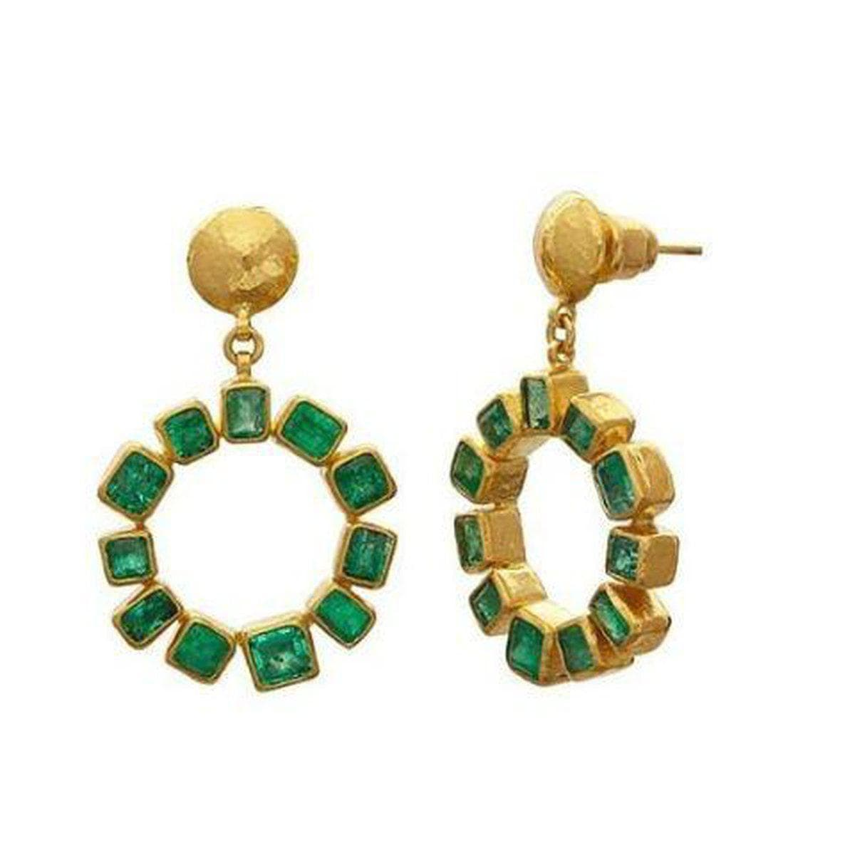 Rainbow 24K Gold Emerald Earrings - ELT-LE-RDHP24-CEM-GURHAN-Renee Taylor Gallery