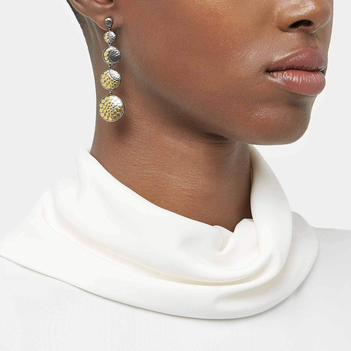 Dot Moon Phase Hammered Drop Earring - EZ39059BRD-John Hardy-Renee Taylor Gallery