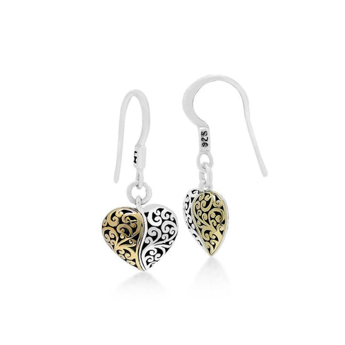 18K Yellow Gold Sterling Silver Signature Scroll Heart Drop Earring - GEU6656-FHY36-Lois Hill-Renee Taylor Gallery
