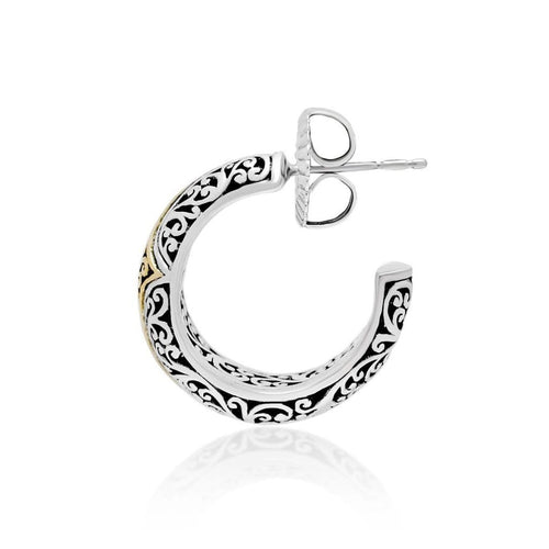 18K Yellow Gold Sterling Silver Signature Scroll Hoop Earring - GEU6690-PSY46-Lois Hill-Renee Taylor Gallery
