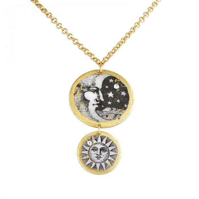 Moon & Sun Double Disc Necklace - GL212-Evocateur-Renee Taylor Gallery