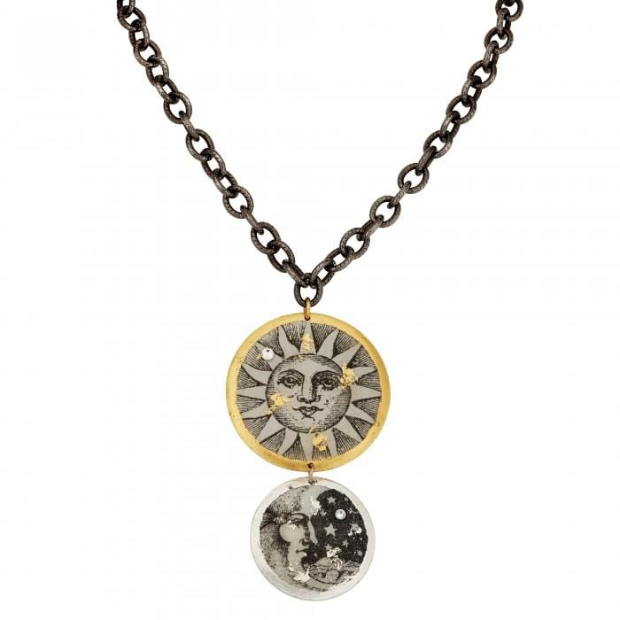 Sun & Moon Double Disc Necklace w/Gunmetal Chain - GL216-Evocateur-Renee Taylor Gallery