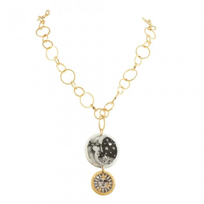 Moon & Sun Double Disc Necklace - GL218-Evocateur-Renee Taylor Gallery