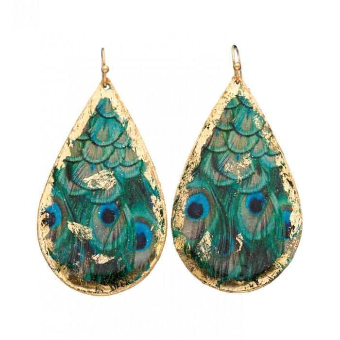 Feathered Peacock Teardrop Earrings - GN408-Evocateur-Renee Taylor Gallery
