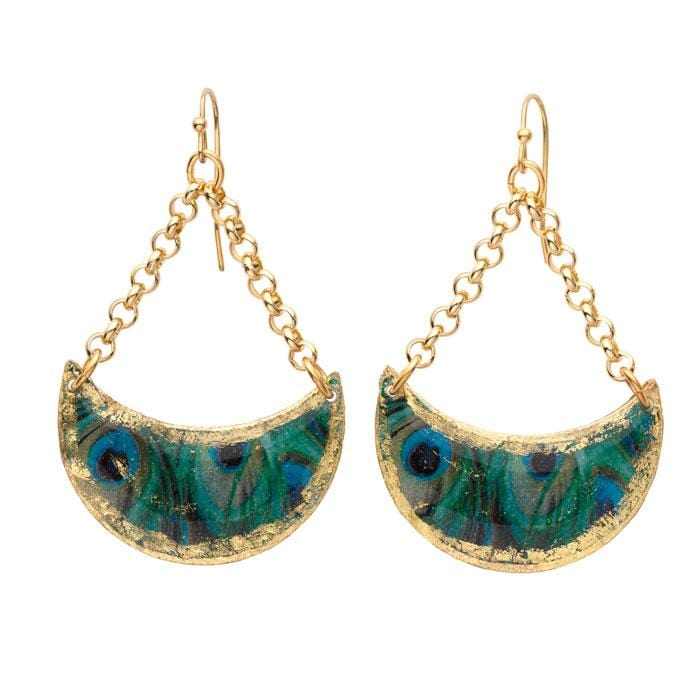 Feathered Peacock Crescent Earrings - GN411-Evocateur-Renee Taylor Gallery
