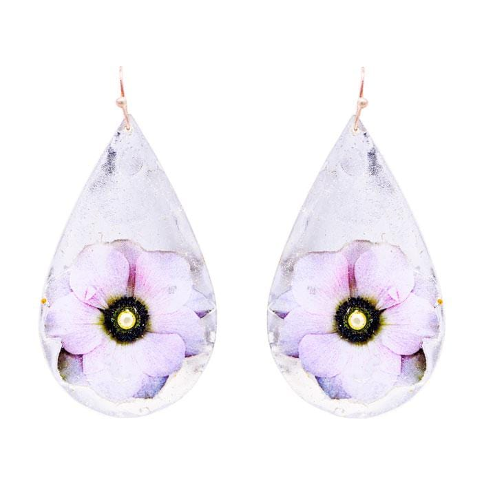 Anemone Teardrop Silver Earrings - GN424-Evocateur-Renee Taylor Gallery