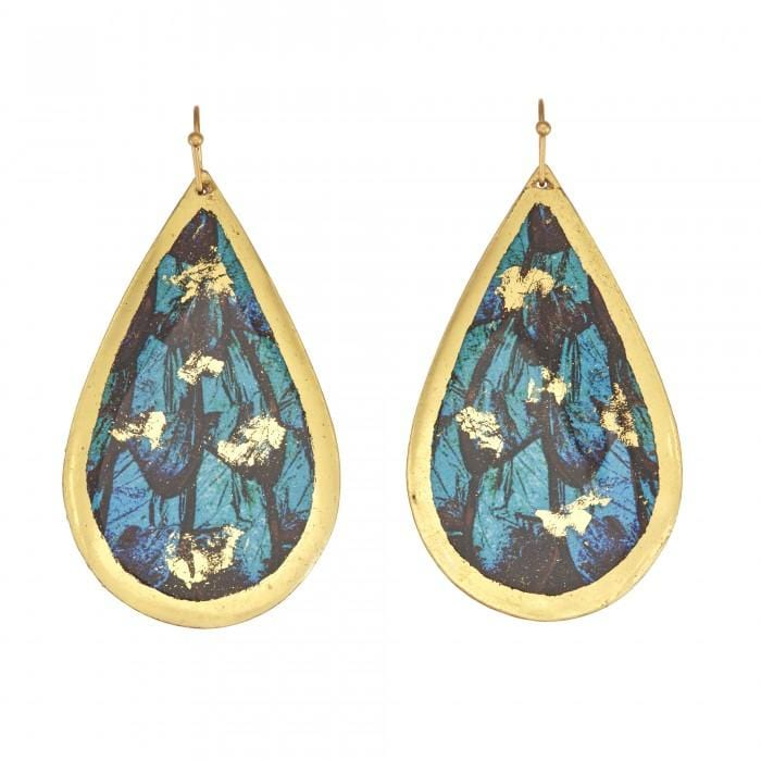 Turquoise Butterfly Teardrop Earrings - GN426