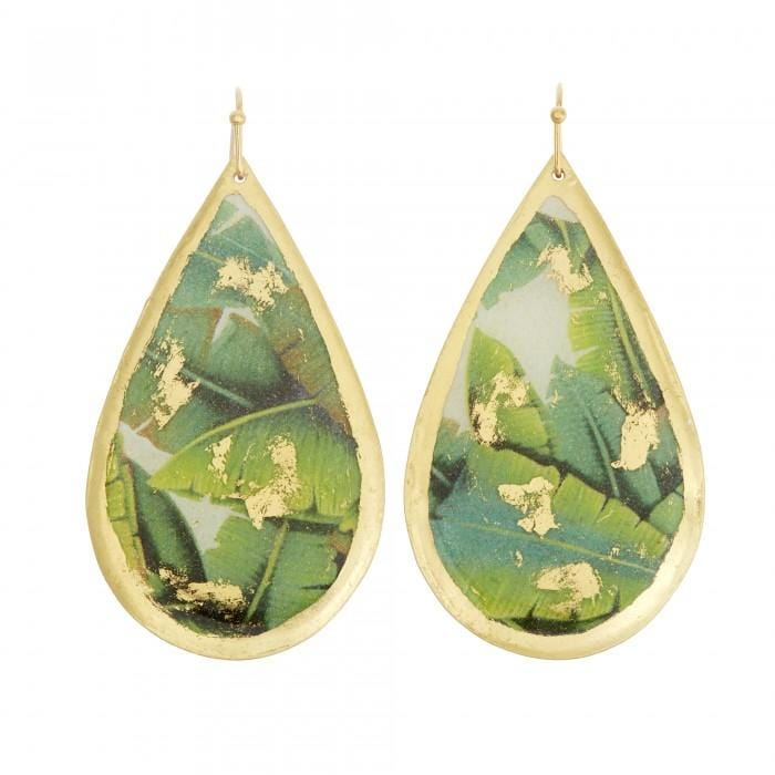Banana Leaf Teardrop Earrings - GN446-Evocateur-Renee Taylor Gallery