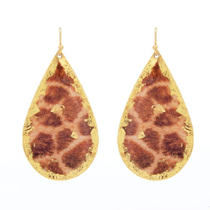 Giraffe Print Teardrop Earrings - HS407-Evocateur-Renee Taylor Gallery