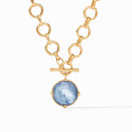 Honeybee Statement Gold Iridescent Chalcedony Blue Necklace - N327GICA00-Julie Vos-Renee Taylor Gallery