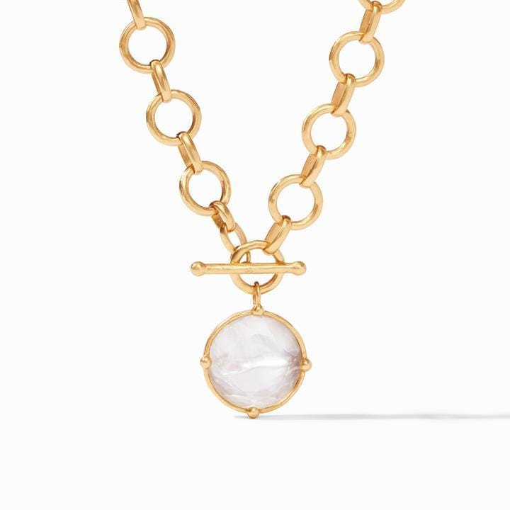 Honeybee Statement Gold Iridescent Clear Crystal Necklace - N327GIRC00-Julie Vos-Renee Taylor Gallery
