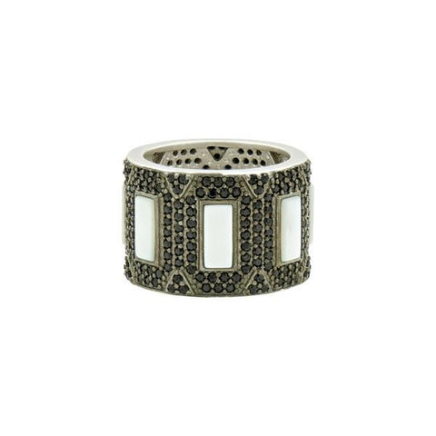 Industrial Finish Pavé Cigar Mother of Pearl Band Ring -IFPKMR-45-Freida Rothman-Renee Taylor Gallery