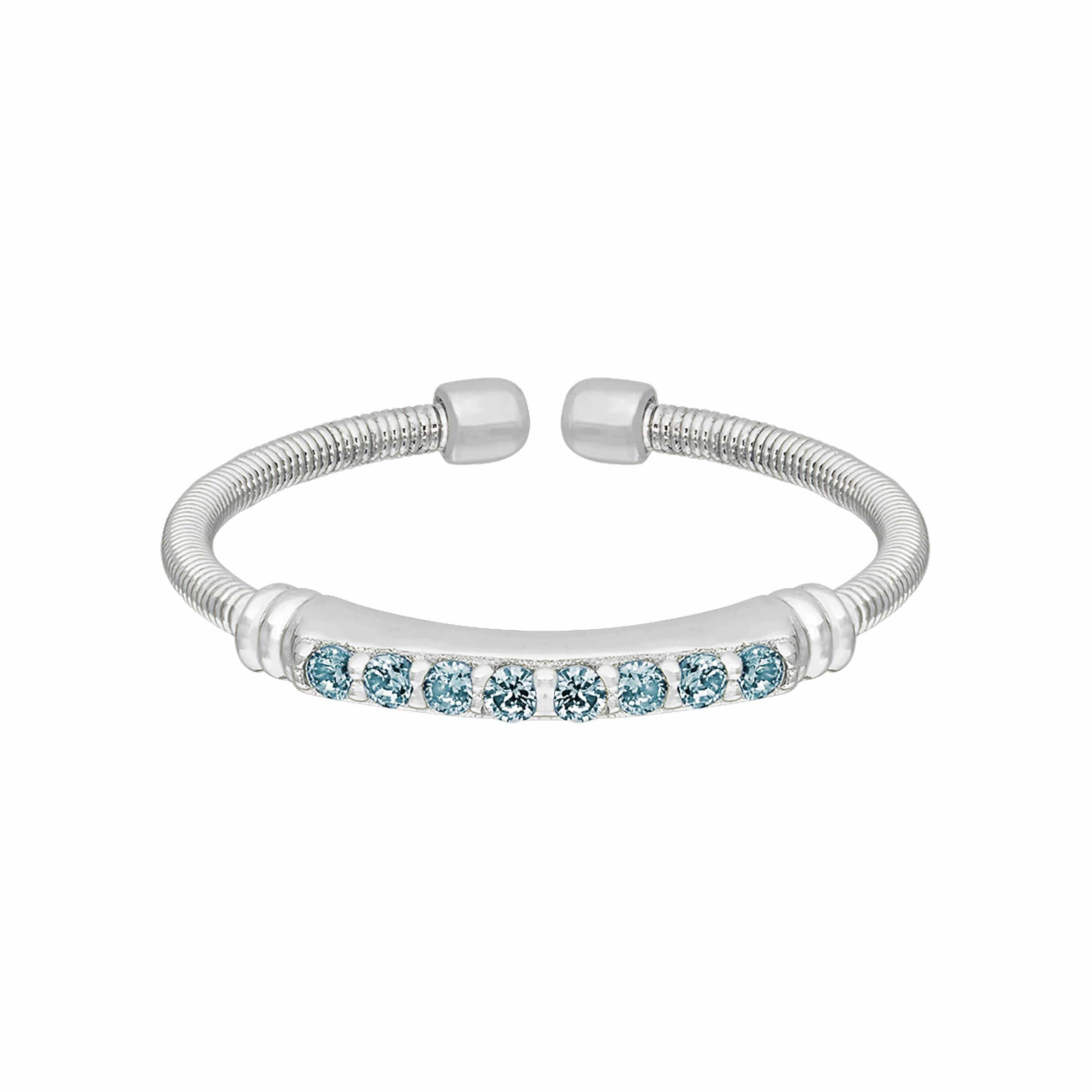 Rhodium Finish Sterling Silver Aquamarine Birth Gems March Ring - LL7004R3-RH-Kelly Waters-Renee Taylor Gallery