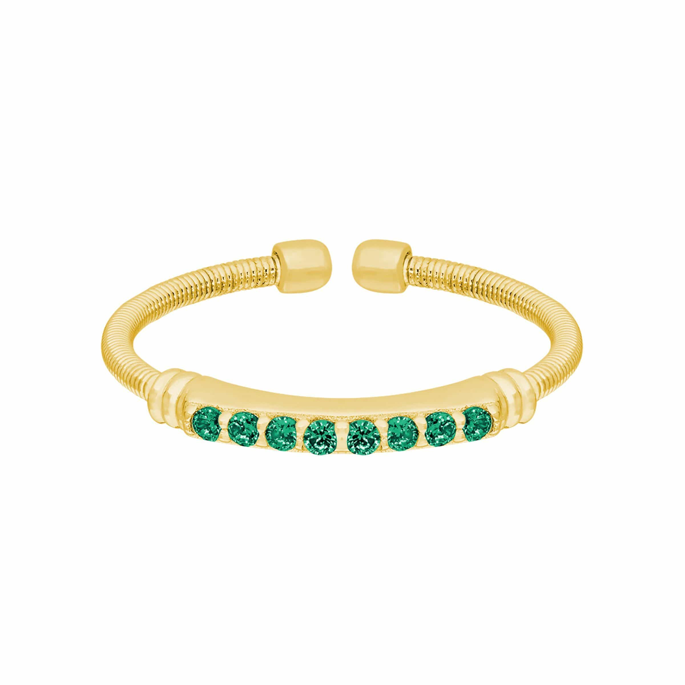 Gold Finish Sterling Silver Emerald Birth Gems May Ring - LL7004R5-G-5-Kelly Waters-Renee Taylor Gallery
