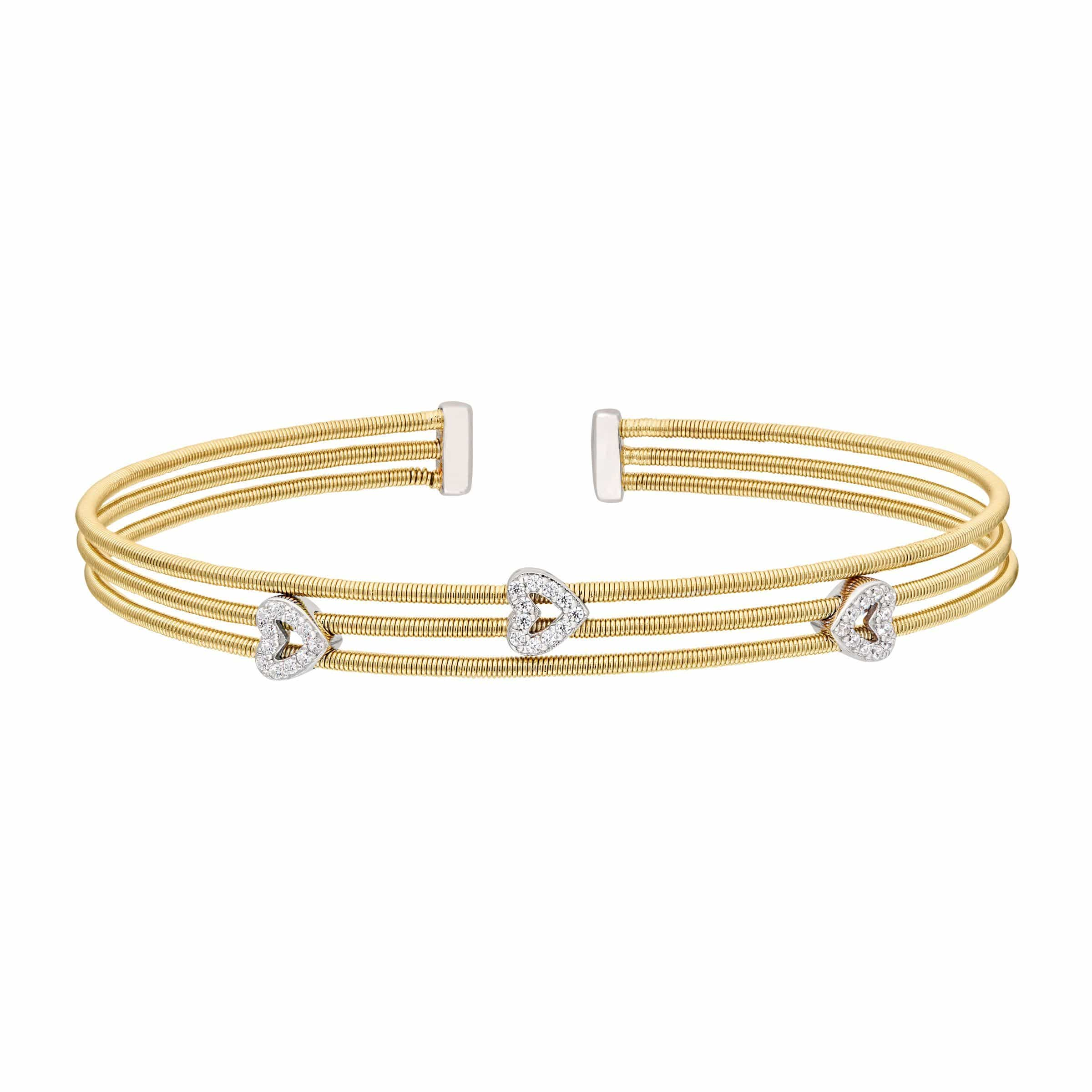 Gold Finish Sterling Silver Three Cable Cuff Bracelet - LL7010B-G/RH-Kelly Waters-Renee Taylor Gallery