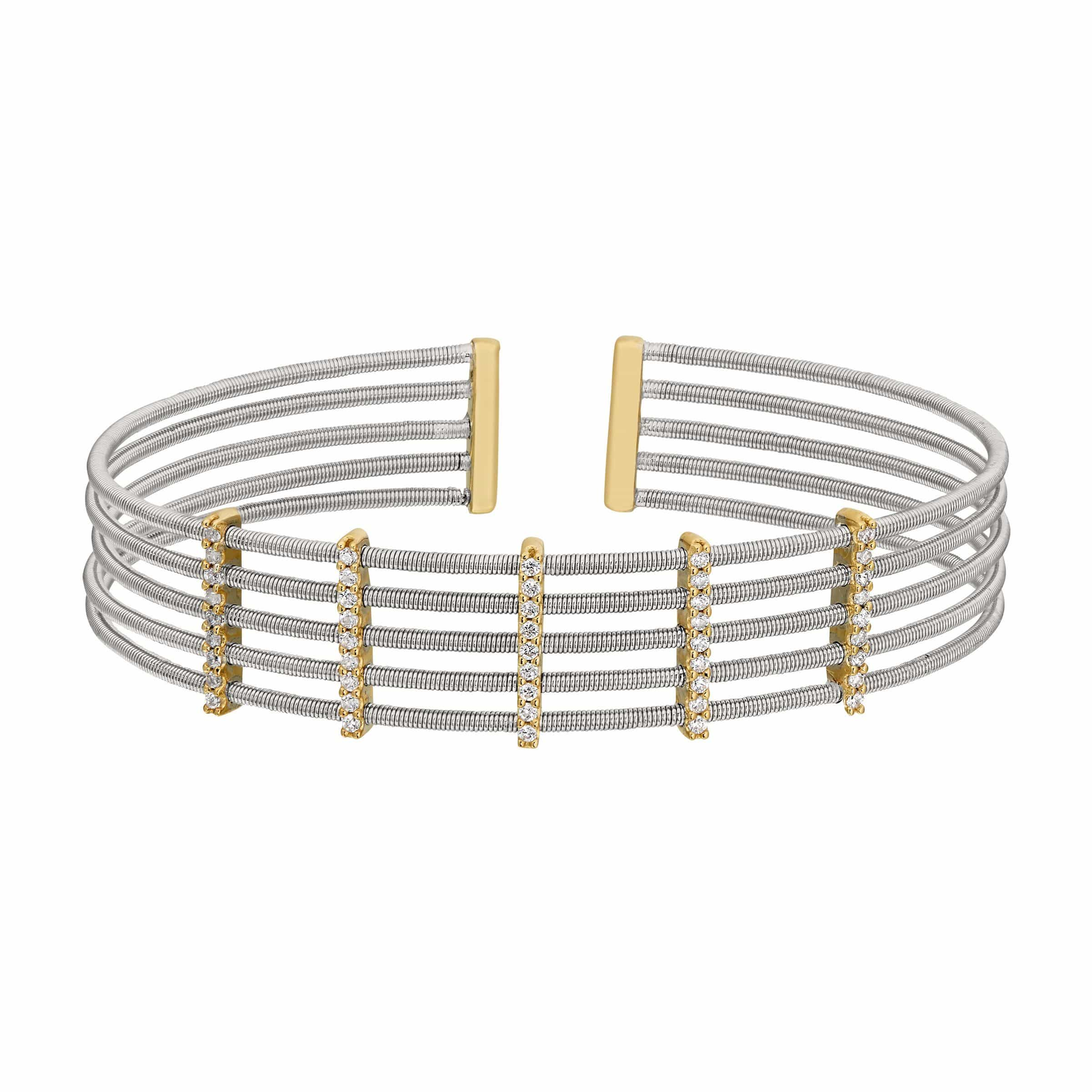 Rhodium Finish Sterling Silver Multi Cable Cuff Bracelet - LL7014B-RH/G-Kelly Waters-Renee Taylor Gallery