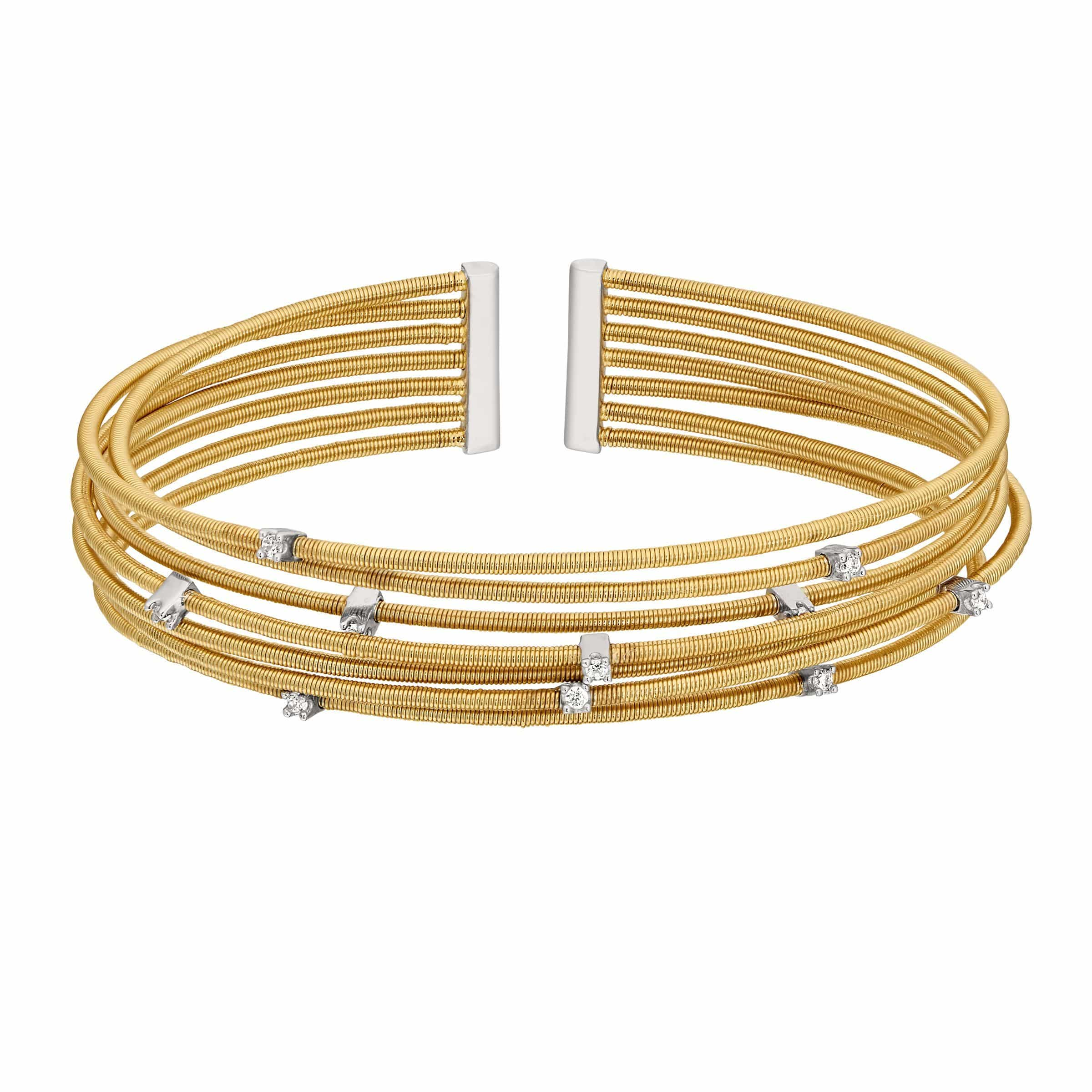 Gold Finish Sterling Silver Multi Cable Cuff Bracelet - LL7017B-G/RH-Kelly Waters-Renee Taylor Gallery