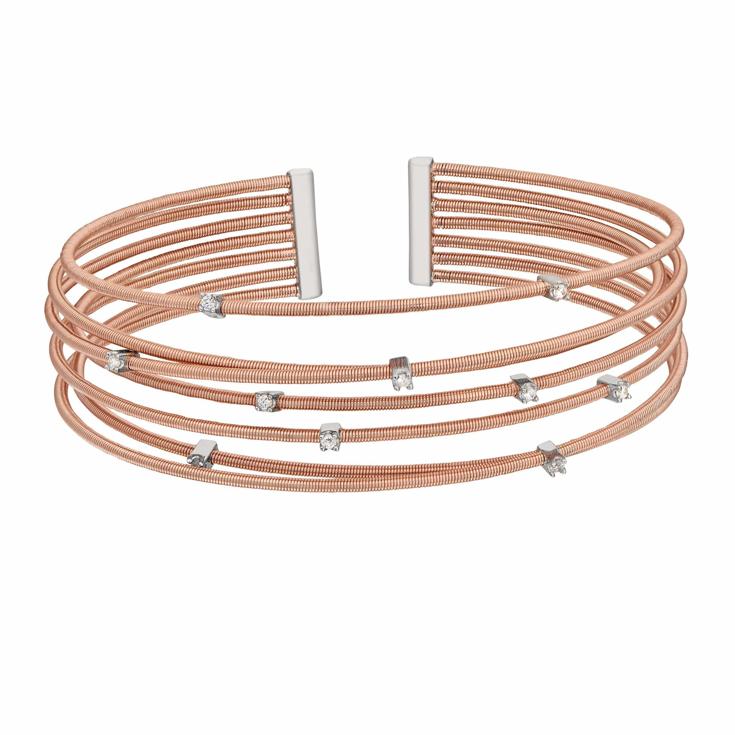 Rose Gold Finish Sterling Silver Multi Cable Cuff Bracelet - LL7017B-RG/RH-Kelly Waters-Renee Taylor Gallery