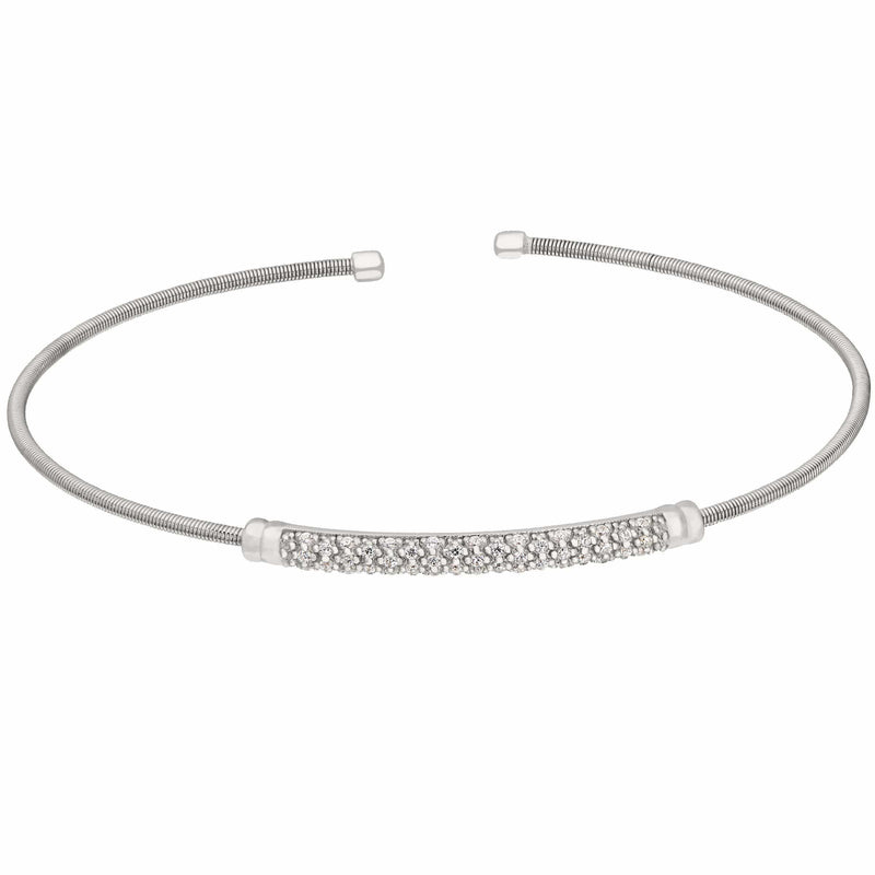 Rhodium Finish Sterling Silver Cable Birth Gems April Cuff Bracelet - LL7022B4-RH-Kelly Waters-Renee Taylor Gallery