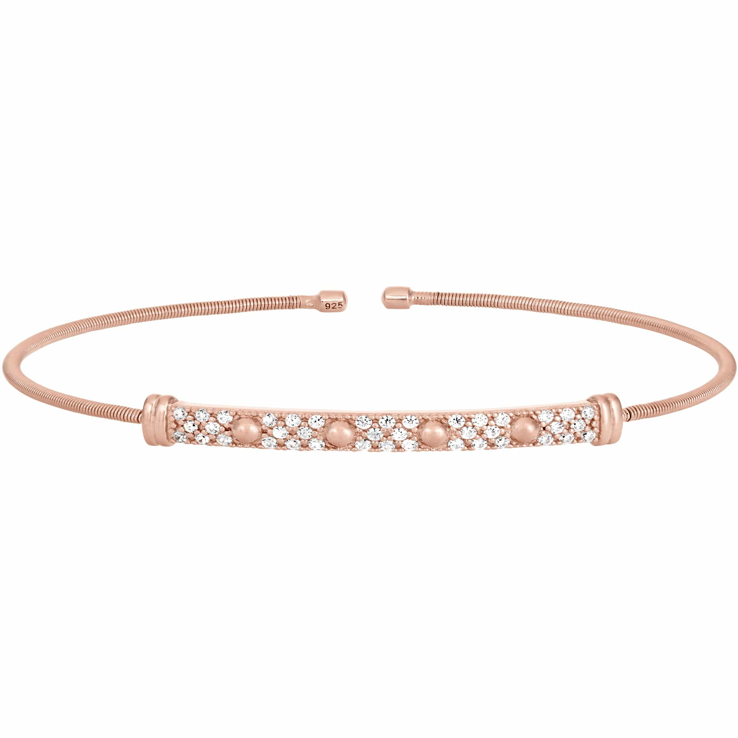 Rose Gold Finish Sterling Silver Cable Cuff Bracelet - LL7025B-RG-Kelly Waters-Renee Taylor Gallery