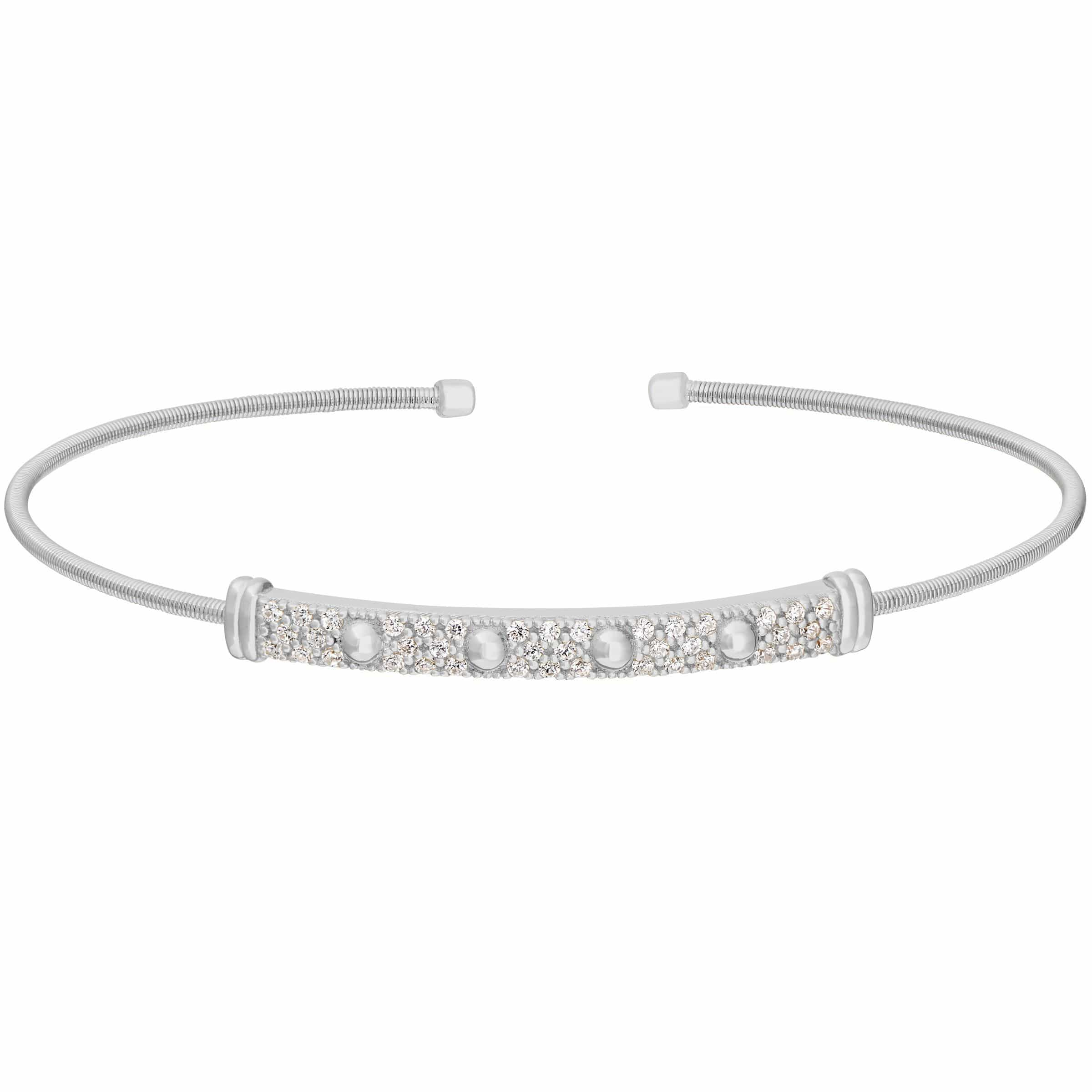 Rhodium Finish Sterling Silver Cable Cuff Bracelet - LL7025B-RH-Kelly Waters-Renee Taylor Gallery