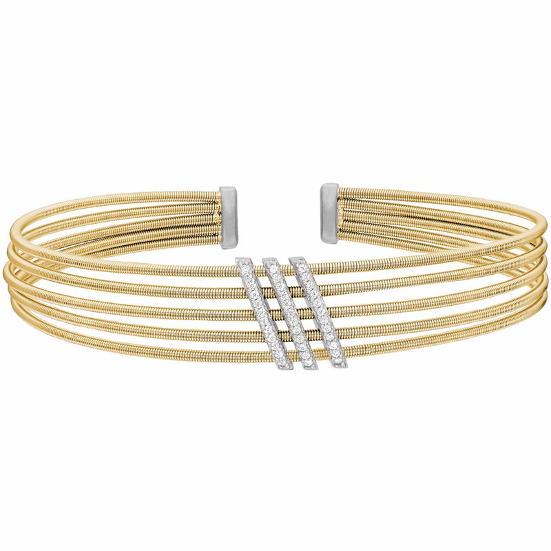 Gold Finish Sterling Silver Multi Cable Cuff Bracelet - LL7034B-G/RH-Kelly Waters-Renee Taylor Gallery