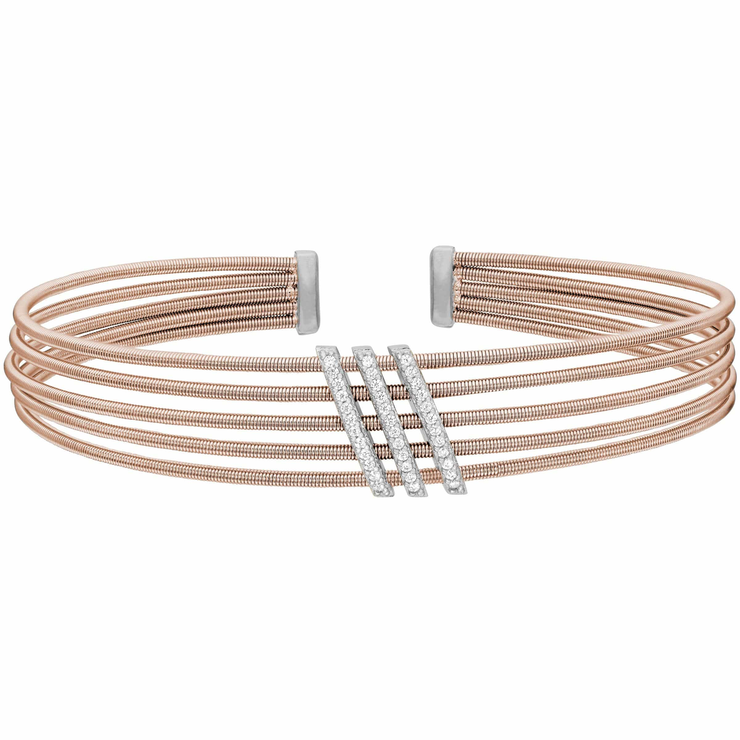 Rose Gold Finish Sterling Silver Multi Cable Cuff Bracelet - LL7034B-RG/RH-Kelly Waters-Renee Taylor Gallery