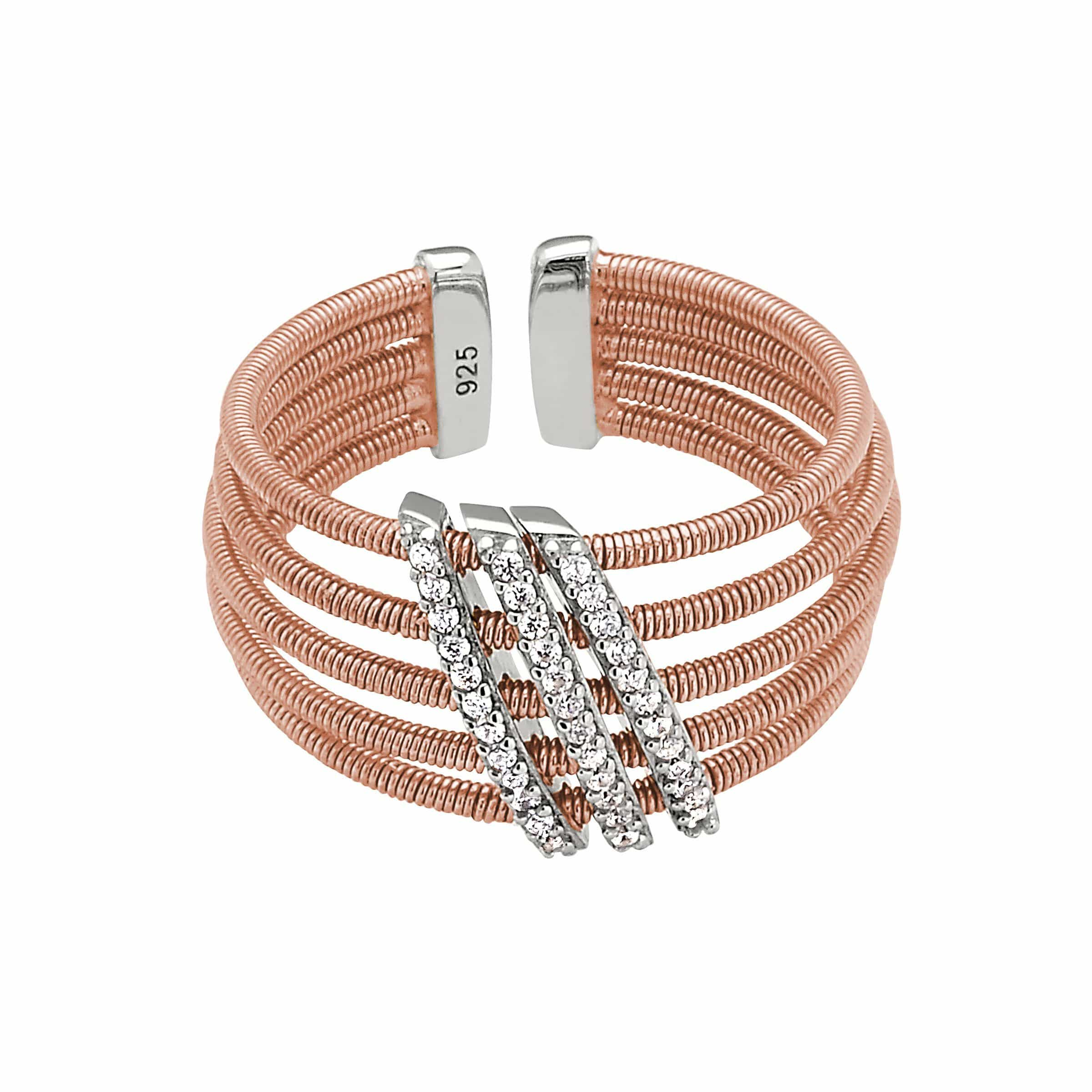 Rose Gold Finish Sterling Silver Multi Cable Cuff Ring - LL7034R-RG/RH-Kelly Waters-Renee Taylor Gallery