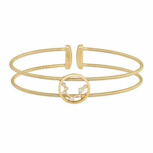 Gold Finish Sterling Silver Cable Cuff Constellation Aquarius Bracelet - LL7047B1-G-Kelly Waters-Renee Taylor Gallery