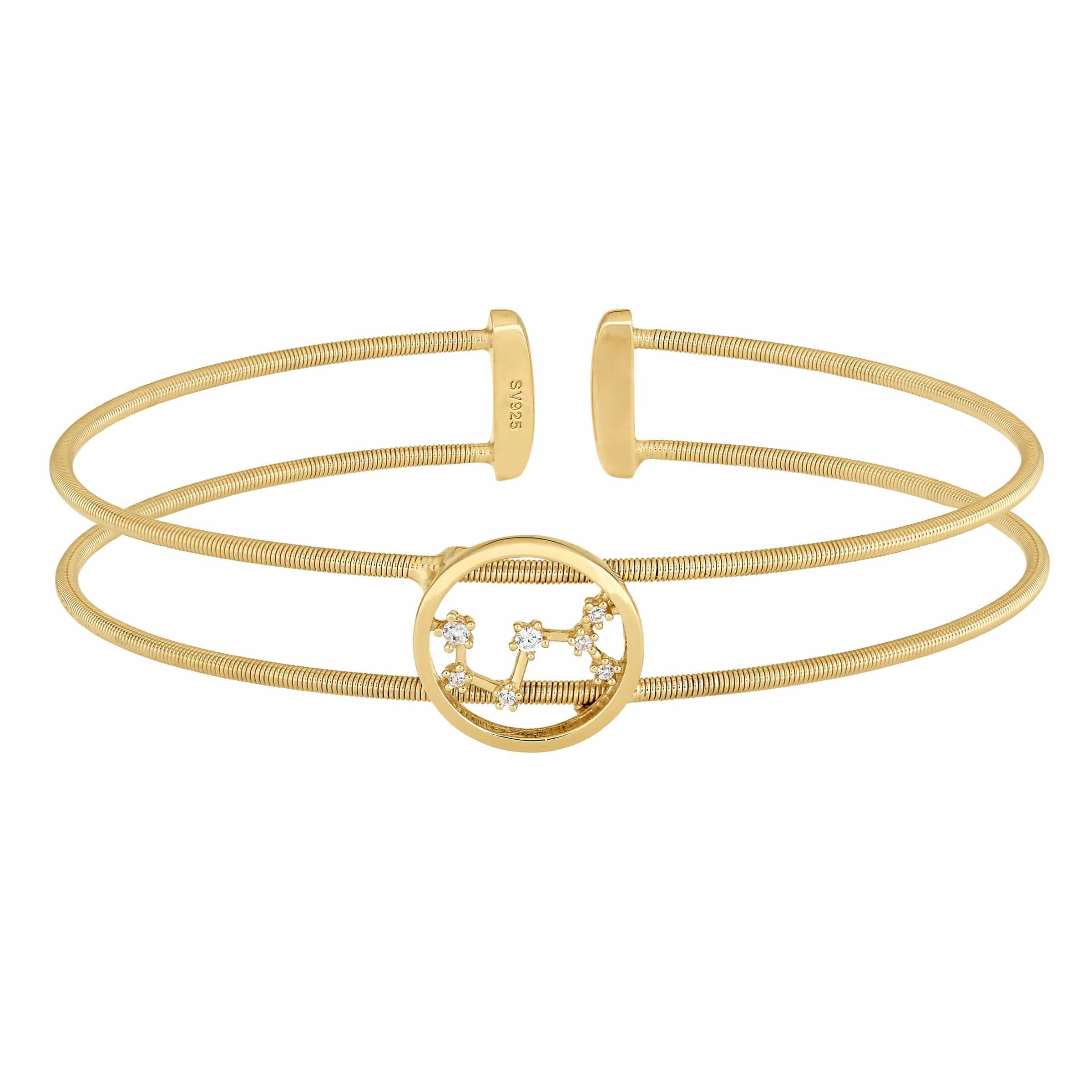 Gold Finish Sterling Silver Cable Cuff Constellation Scorpio Bracelet - LL7047B10-G-Kelly Waters-Renee Taylor Gallery