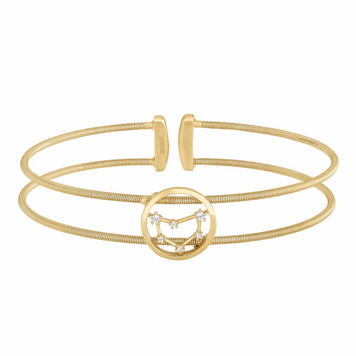 Gold Finish Sterling Silver Cable Cuff Constellation Capricorn Bracelet - LL7047B12-G-Kelly Waters-Renee Taylor Gallery