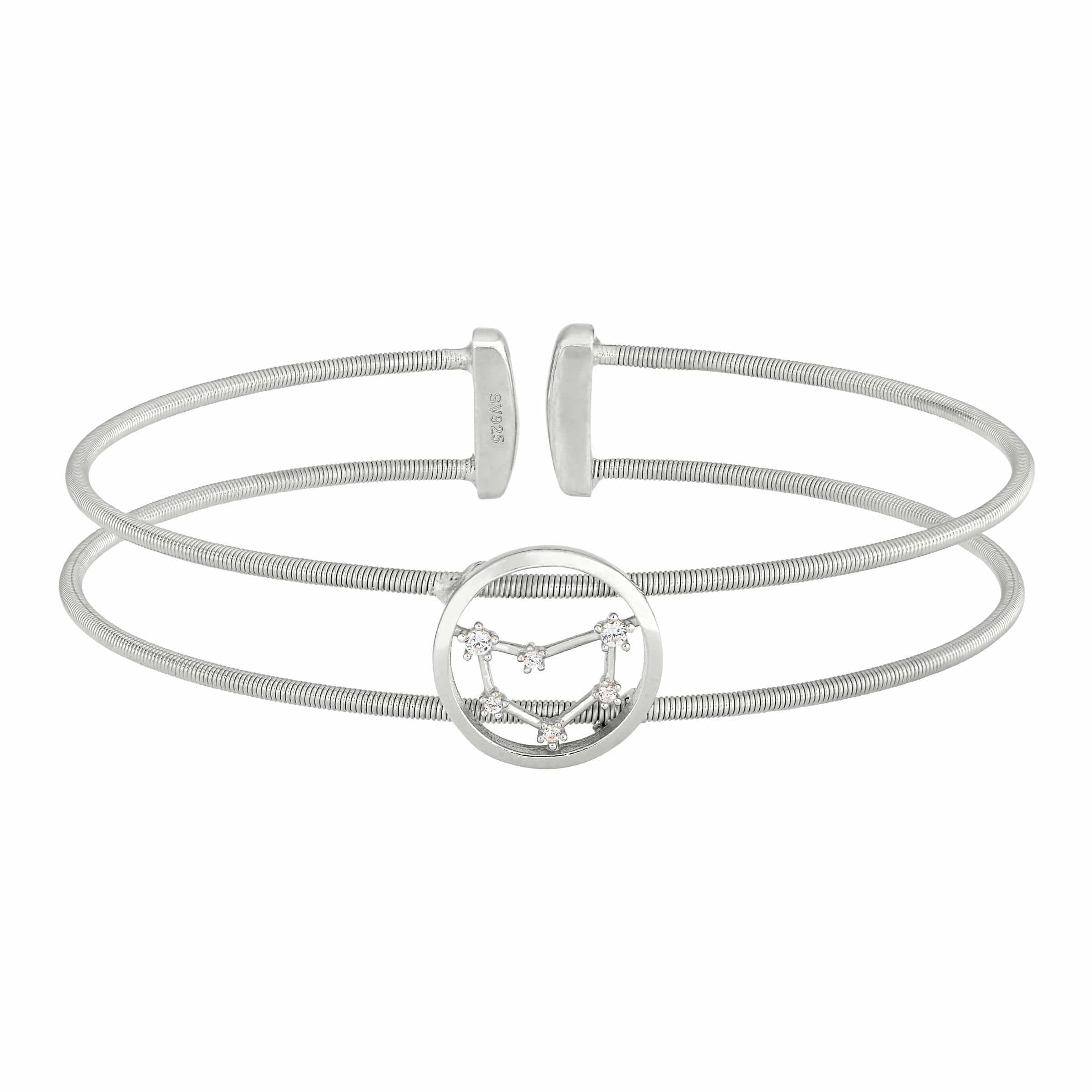 Rhodium Finish Sterling Silver Cable Cuff Constellation Capricorn Bracelet - LL7047B12-RH-Kelly Waters-Renee Taylor Gallery