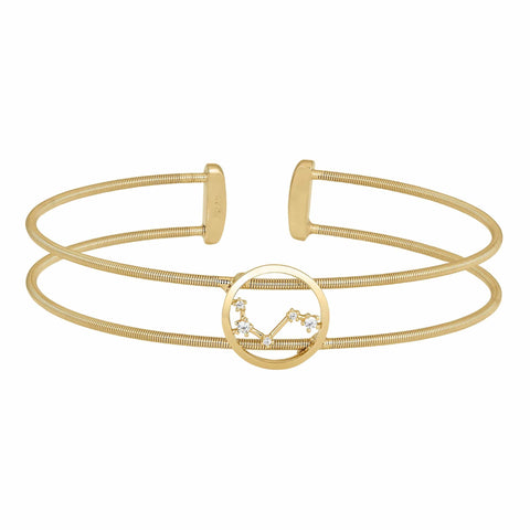 Gold Finish Sterling Silver Cable Cuff Constellation Aries Bracelet - LL7047B3-G-Kelly Waters-Renee Taylor Gallery
