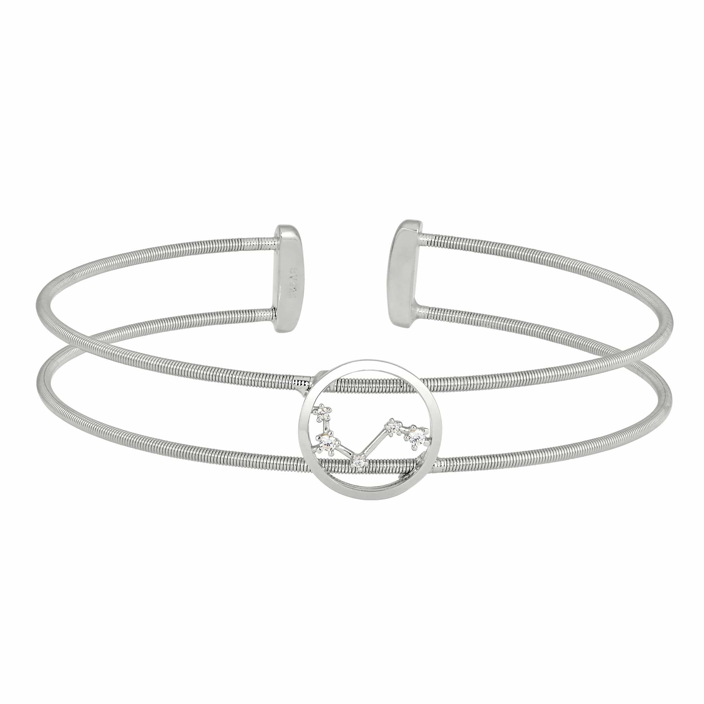Rhodium Finish Sterling Silver Cable Cuff Constellation Aries Bracelet - LL7047B3-RH-Kelly Waters-Renee Taylor Gallery