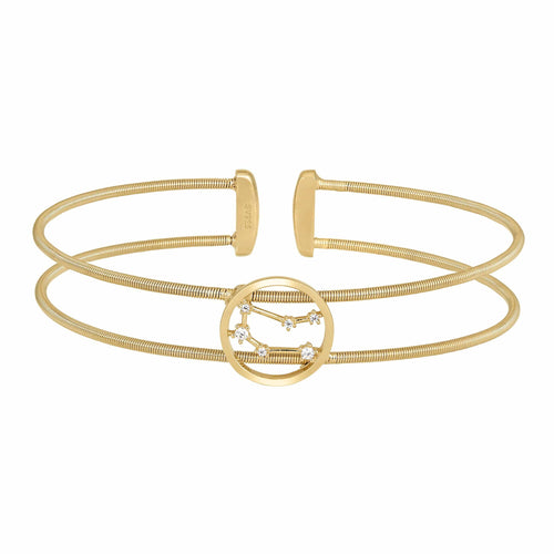 Gold Finish Sterling Silver Cable Cuff Constellation Gemini Bracelet - LL7047B5-G-Kelly Waters-Renee Taylor Gallery