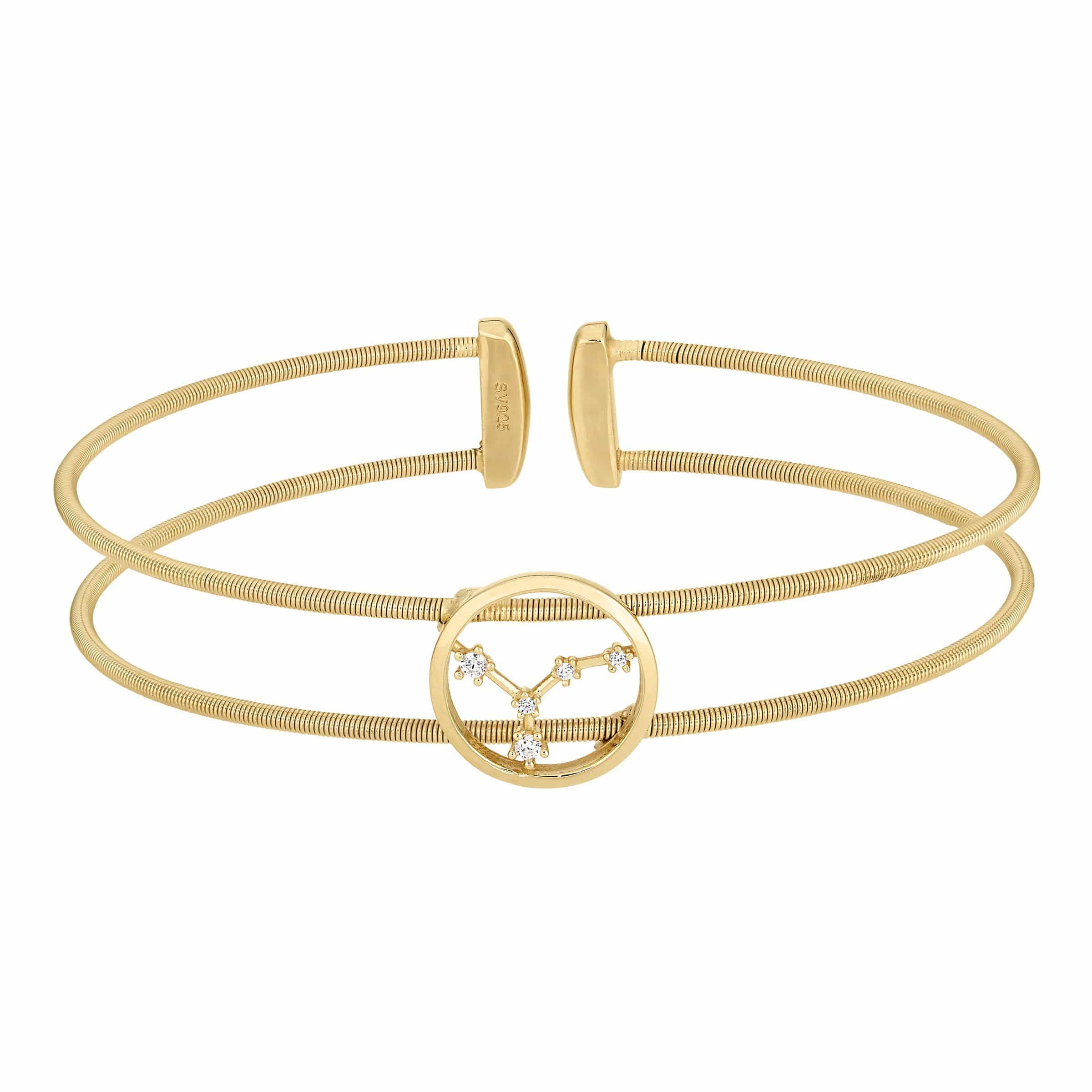 Gold Finish Sterling Silver Cable Cuff Constellation Cancer Bracelet - LL7047B6-G - Kelly Waters