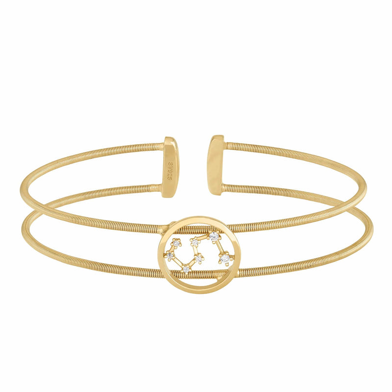 Gold Finish Sterling Silver Cable Cuff Constellation Leo Bracelet - LL7047B7-G-Kelly Waters-Renee Taylor Gallery
